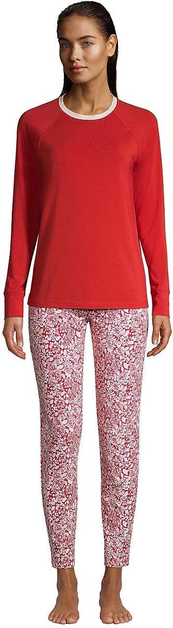 Lands' End Women's Tall Lounge Pajama Set Long Sleeve T-shirt and Slim Leg Pants