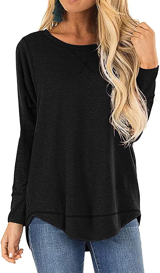 LEXISLOVE Womens Shirts Long Sleeve Tops Casual Top Round Neck Side Split Loose Fits Tunic Tops Blouses