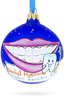 BestPysanky Dental Hygienist Glass Ball Christmas Ornament 3.25 Inches