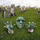 Decoraciones de Halloween Estaca de Mano de Cara de Zombi, Zombie de Halloween Cara y Brazos Césped Estacas para Halloween Decoración de Cementerio Decoración de casa encantada