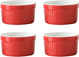 Lot de 4 ramequins en porcelaine de 177 ml pour la cuisson de la crème brûlée, pour le pudding, la confiture, la crème gla...