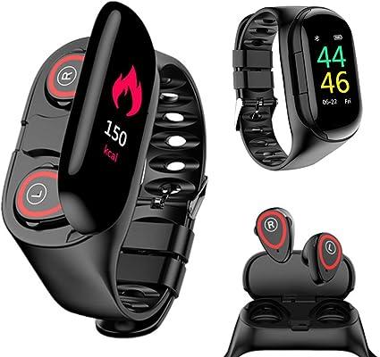 Amazon.com: Wireless Bluetooth Earbuds Smartwatch Bracelet 2 in 1 Fitness  Tracker Band Smart Bracelet (Black): Sports & Outdoors