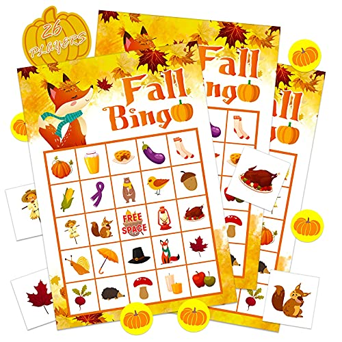WhatSign Fall Bingo Game Cards for Kids 26 Players Fall Festival Party Games for Kids Adults,Autumn Bingo Cards Thanksgiving Party Favors Supplies School Classroom Family Activities