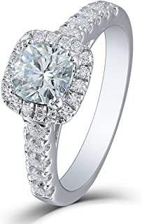 DOVEGGS Platinum Plated Silver Center 1ct 2.6mm Band Width 6X6mm Blue Tinted Cushion Cut Moissanite Engagement Ring with Accents