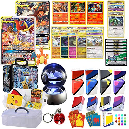 Totem World Tag Team Charizard GX Premium Collection with a Night Light, Keychain, 100 Sleeves, Deck Box, Mini Binder and Figure in a Storage Collector Chest Carrying Case