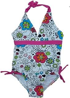 ST TROPEZ Girls White Flower Heart Print Swimming Suit Swim Bathing Suit 1 PC