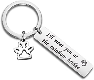 Pet Memorial Gift I'll Meet You at The Rainbow Bridge Keychain Pet Loss Sympathy Gift