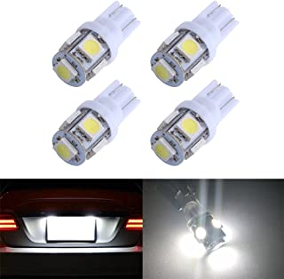 194 T10 W5W 5SMD 5050 Antline 12v LED Light Bulb White 2825 158 192 168 for Car/Motor Interior Dome Parking Side Turn Signal Dashboard License Number Plate Light Bulbs Lamp (pack of 4)