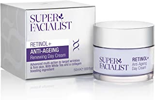 Super Facialist Retinol Cream - Anti Ageing - Face Cream Women - Morning Day Cream Face Moisturiser & Wrinkle Cream with Shea Butter Collagen Stimulating White Tea & Hyaluronic Acid 50ml