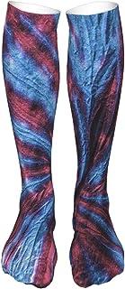 PeiZhengYuanLin-Shop, Calcetines Altos Calcetines de mujer, calcetín morado y azul con efecto tie dye Calcetín 50CM