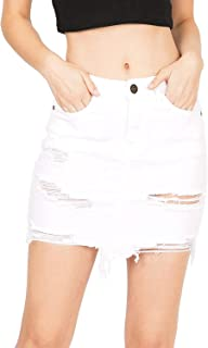 Machine Jeans Pour Neuf Mode Women's Juniors Distressed Denim Mini Skirt