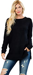 RIAH FASHION Chunky Waffle Knit Sweater Tunic - Cozy Long Sleeve Round Crew Neck, Side Slit Pullover, Off Shoulder V-Neck Top