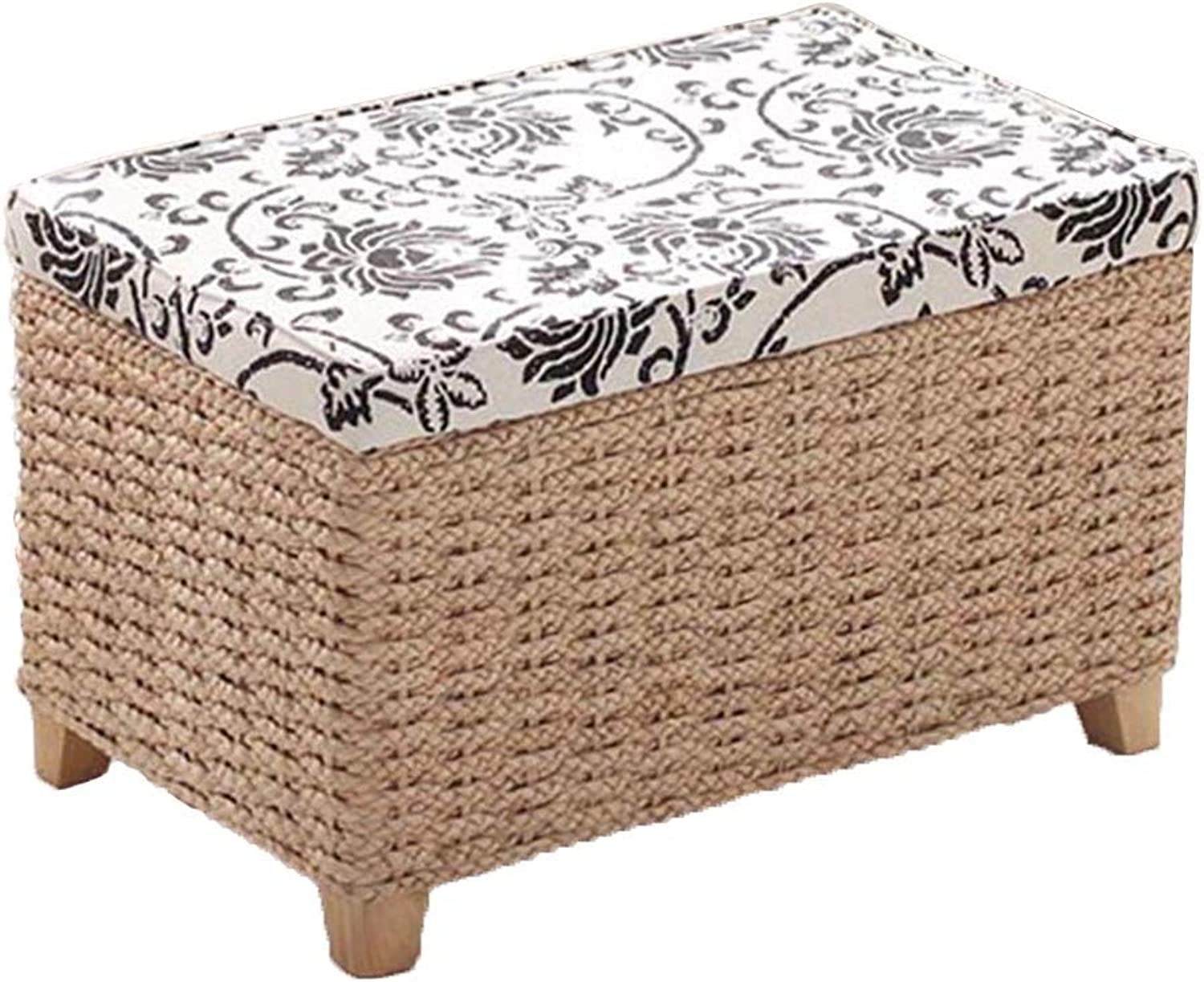 Tingting-Stools, Straw Multifunction Storage Change shoes Can Sit Box Removable Cover Cloth (color   Wood, Size   51  31  32)