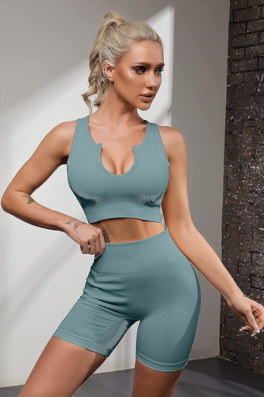 FAFOFA Seamless Workout Sets for Women Ribbed Sport Bra High Waist Running Shorts Gym 2 Piece Yoga Sets