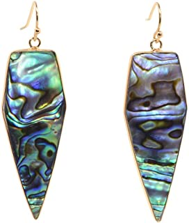 Natural New Zealand Abalone Paua Shell Shaped Earrings