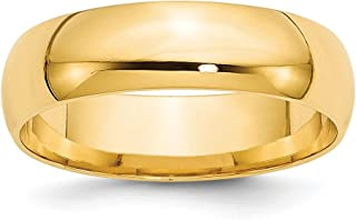 14k Yellow Gold 6mm Comfort Fit Wedding Ring Band Size 7.5 Classic Fine Jewelry Gifts For Women For Her