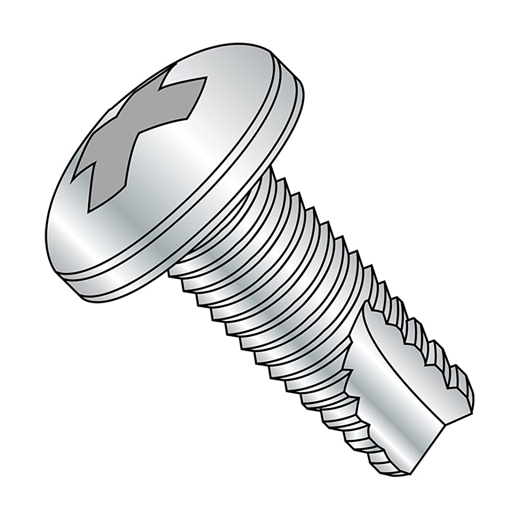 Steel Thread Cutting Screw, Zinc Plated Finish, Pan Head, Phillips Drive, Type 23, #10-32 Thread Size, 3/8
