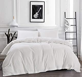 Mivedia Collection Solid Duvet Cover Set with Pillow Shams | 100% Cotton Modern & Minimalist Style Bedding | Lightweight & Soft (Full/Queen, White)