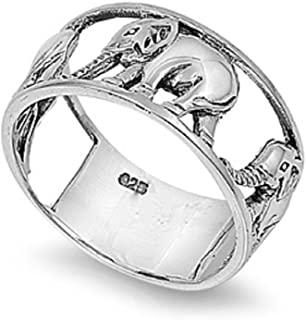 Sterling Silver Elephant Carousel Ring (Sizes 5-15)