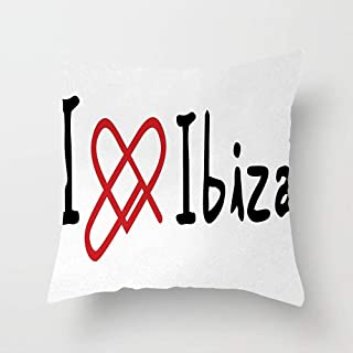 Huayuanhurug I Love Ibiza Message Spanish Islands Holiday Theme Line Heart Motif Throw Pillow Cover Cute Decorative Pillow Cases Home Decor Square 18x18 Inches