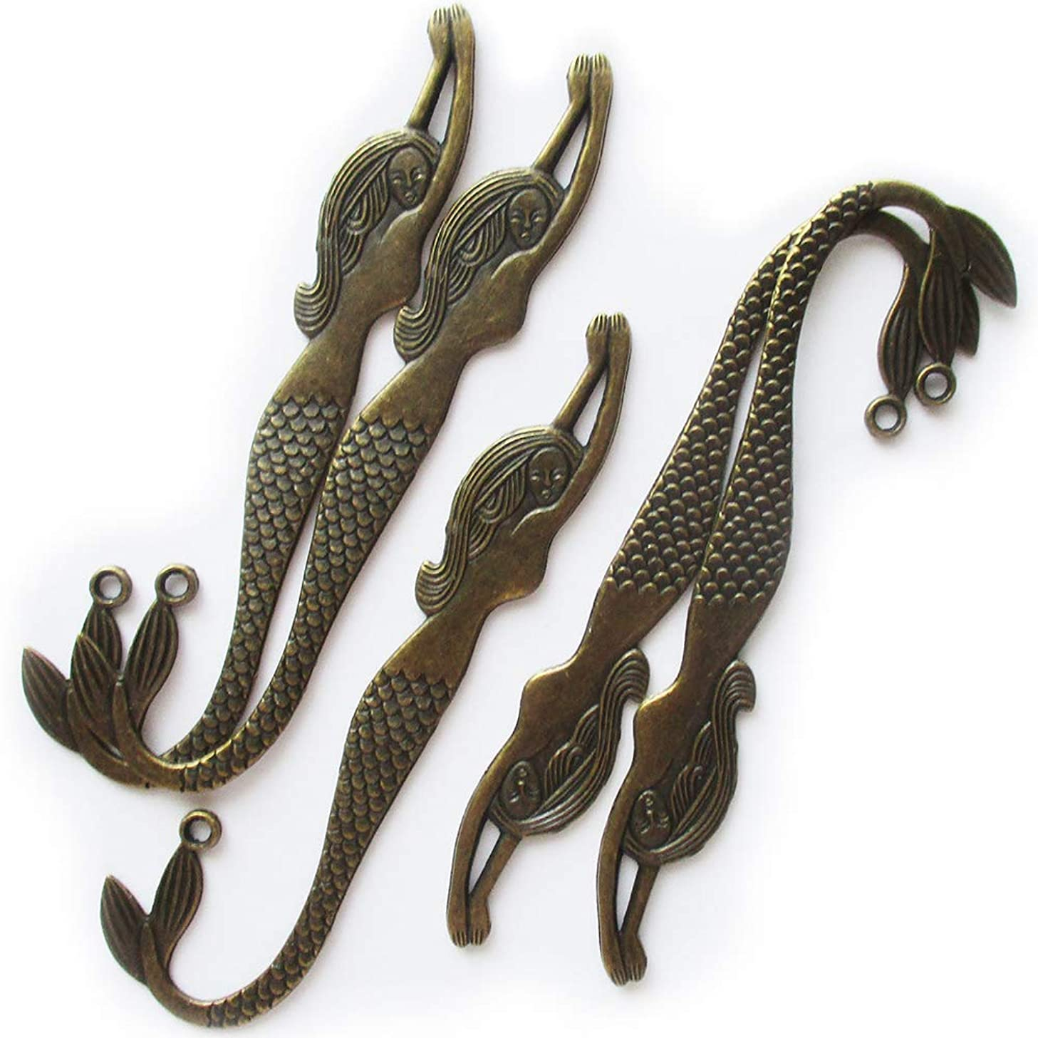 Heather's cf 5 Pieces Mermaid Bookmark Bronze Long Spacer Findings with 3 mm Hole for Jewelry Making