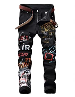 Men's Casual Slim Fit Straight Printed Denim Pants Skinny Jeans