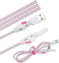 Cute Kitty Cat Cartoon Animal Kawaii Spring Cable Protector Cover Saver Sleeves/Cord Management+Charging Data USB Cable+Cable Ties Reusable Fastening/Cable Straps Organizer for Apple iPhone iPad