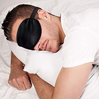 Sleep Mask Night Cover Eye Sleeping Silk Satin Masks for Women Men, Blindfold for Airplane Travel Adjustable Strap (Black)