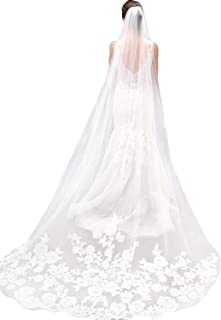 MisShow White Ivory Lace Edge Cathedral Length Wedding Bridal Veil with Comb
