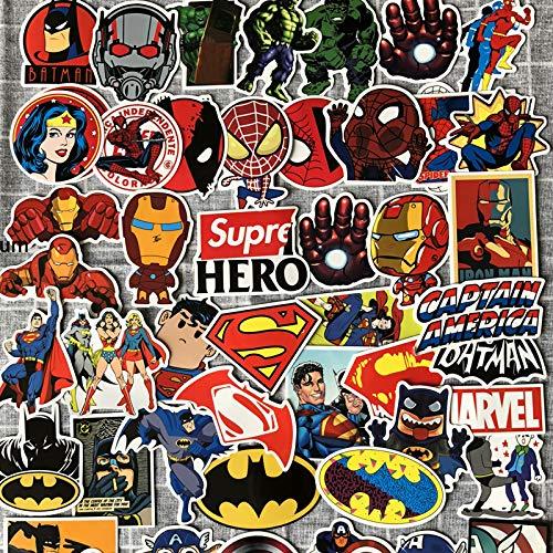 ZWANG Pegatinas de héroe de Marvel Vengadores Iron Man Batman Spiderman Pegatinas de decoración Pegatinas de Maleta