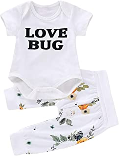 puseky 2pcs/Set Infant Newborn Baby Short Sleeve Clothes Love Bug Print Rompers+Pants Outfits Sets