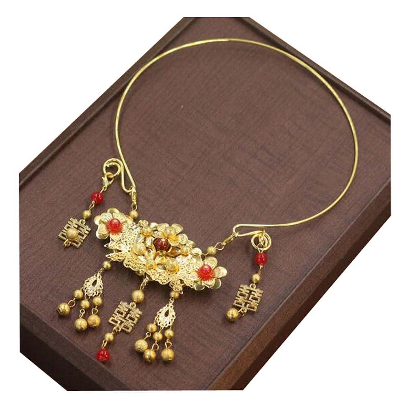 反響する利得六新しいスタイル中国の結婚式のネックレスリング赤いブライダルの頭飾りジュエリー02