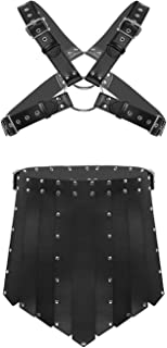 Men's Black Leather X-Shaped Body Chest Caged Harness with Shorts Lingerie Set