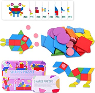 KACAGA Wooden Pattern Blocks Jigsaw Puzzle Animal Geometric Shapes STEM Stacking Games Montessori Early Educational Toys for Toddlers Kids Boys Girls Age 2,3,4 Years 34 Shape Pieces 60 Design Cards C