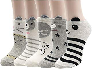DOSWODE Low Cut Ankle Socks Casual Athletic No Show Liners for Women Girl 5 Pack