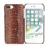 【HAIKAU】 iPhone8 Plus 5.5インチ / iPhone7 Plus 5.5インチ兼用 高品質な牛革 本革 レザーケース ジャケット 背面カバー 軽量 クロコダイル柄 ハンドメイド 片手操作がラクラク! アイフォン8/7 プラス ダークブラウン