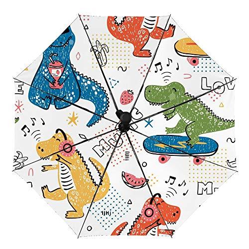 Guarda-chuva de viagem automático à prova de vento, guarda-chuva dobrável com padrão primitivo de dinossauro, impermeável compacto guarda-chuva de sol e chuva para mulheres, homens e crianças, Dinossauro amante da música, OneSize