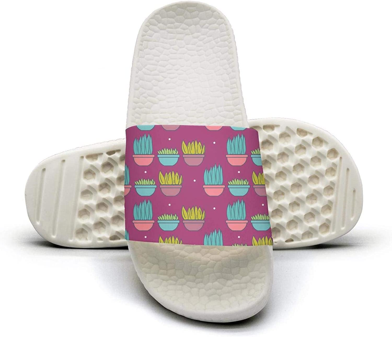 Women Girls Cute Potted Plants Slip on Beach Sandals and Anti-Slip Shower Slipper Comfort Sandals
