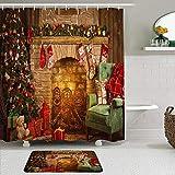 MTevocon Duschvorhang Sets mit rutschfesten Teppichen,Frohe Weihnachten Frohes Neues Jahr Weihnachtsbäume Kamin Ziegel Strümpfe, Badematte + Duschvorhang mit 12 Haken