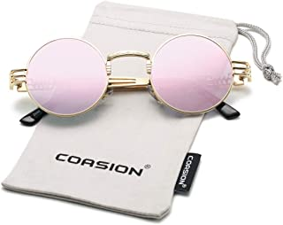 9733369f1c2 COASION Vintage Round John Lennon Sunglasses Steampunk Gold Metal Frame  Clear Sun Glasses