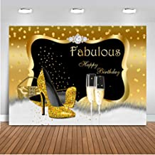 Mocsicka Fabulous Birthday Backdrop 7x5ft 30th 40th 50th 60th Birthday Banner Photography Background Gold Spots High-Heel Champagne Diamond Background