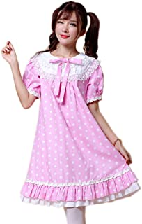 ezShe Womens Lace Short Puff Sleeves Baby-Doll Dress with Star Painting