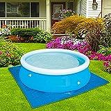 Flowclear Pool Ground Cloth - Pool Bodenplane - Poolunterlage Rechteckig - Für Easy Set und Frame Pools von 274-396 cm Easy Set Pool Cover - Poolabdeckplane - Schwimmbadmatte Bodenschutzfliesen, Blau