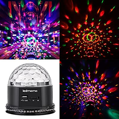 LEDMOMO Crystal Magic Disco Lights Party Lights 6 Color Changes Sound Actived RGB Mini Rotating Strobe Stage Lights MP3 with Remote Control