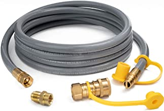 GASPRO 12 Feet 1/2inch ID Natural Gas Hose, Propane Gas Grill Quick Connect/Disconnect Hose Assembly with 3/8inch Female Flare by 1/2inch Male Flare Adapter for Outdoor NG/Propane Appliance