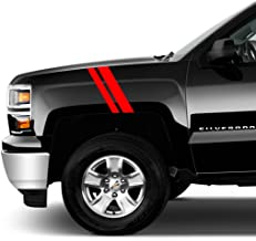 Clausen's World 2 and 3 Inch Pickup Truck Fender Hash Mark Bars Racing Stripes Vinyl Decals, Fits Chevy Silverado and Most Cars and Trucks, Both Sides, Red