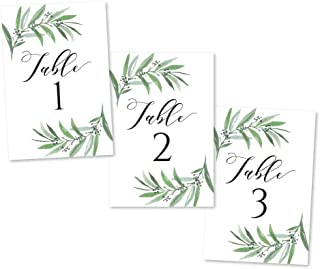 1-25 Greenery Eucalyptus Table Number Double Sided Signs For Wedding Reception, Restaurant Birthday Party Calligraphy Printed Numbered Card Centerpiece Decoration Setting Reusable Frame Stand 4x6 Size