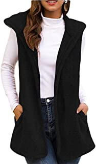 Womens Casual Hooded Faux Fur Cardigan Fluffly Shaggy Vest Jacket Long Coat with Pocket