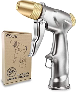 ESOW Garden Hose Nozzle, 100% Heavy Duty Metal Spray Gun with Full Brass Nozzle, 4 Watering Patterns Watering Nozzle- High Pr