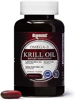 Spoonful Antarctic Krill Oil 1000mg 60 Softgels, Burpless Enteric Coated Capsules, Omega-3 DHA EPA Astaxanthin and Essenti...